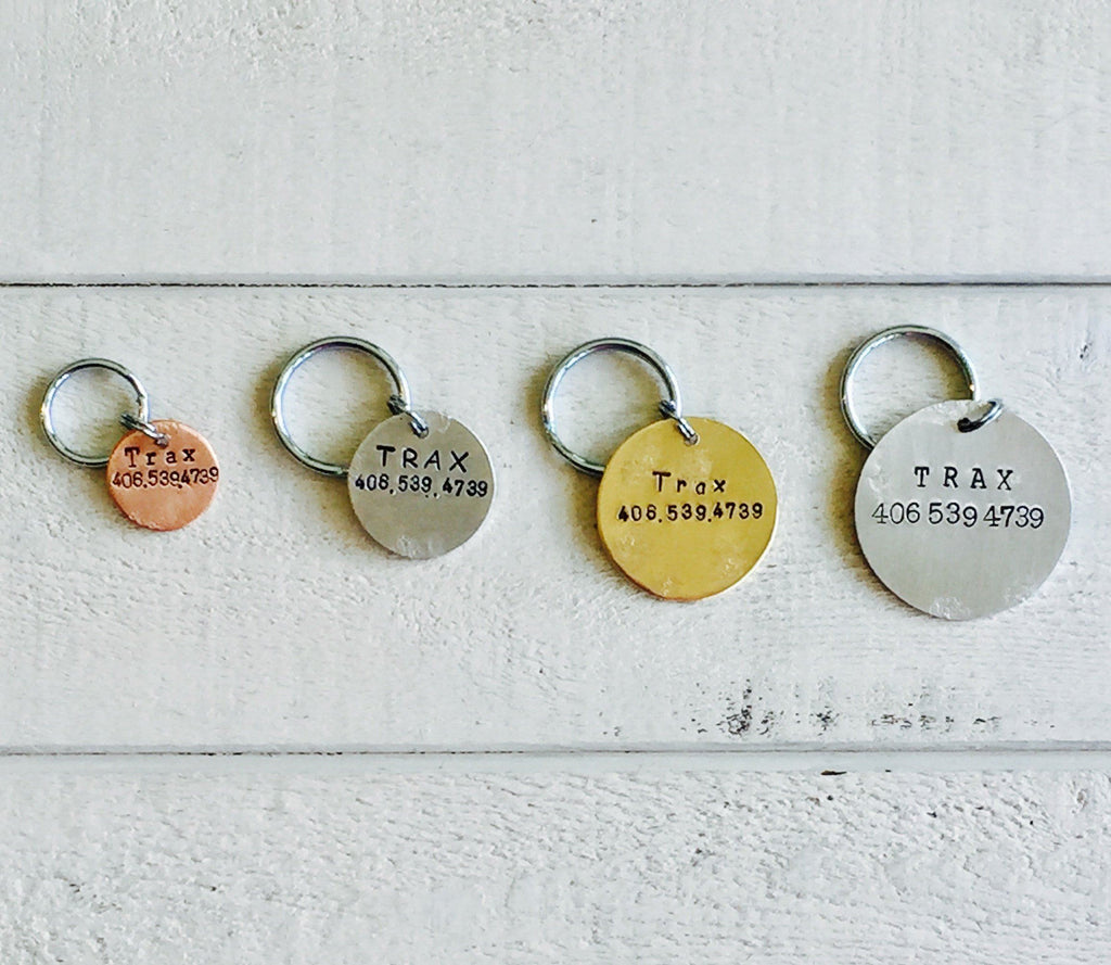 Rustic Trax Artisan Handstamped Pet Dog / Cat ID Tag (Personalize)