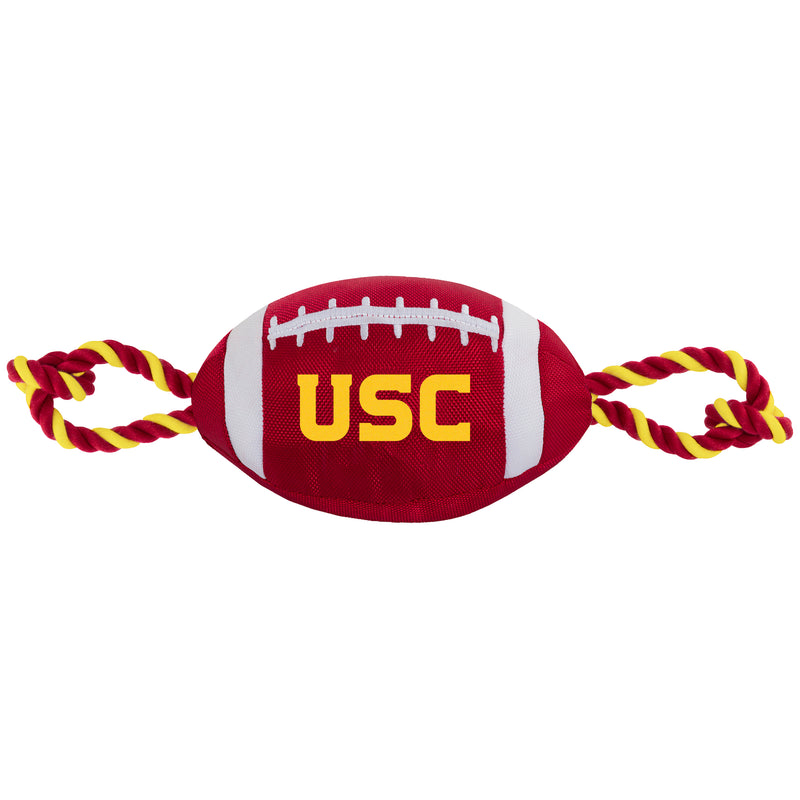 USC Nylon Football Squeaker Tug Rope Dog Toy