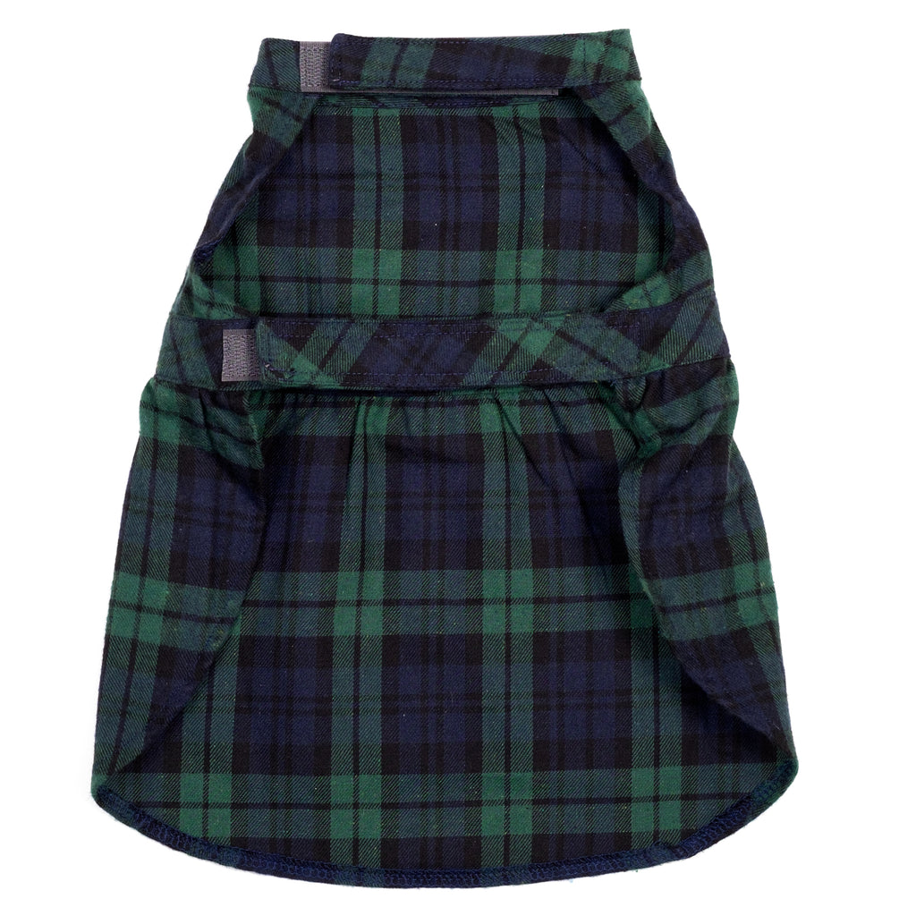 Flannel Woven Designer Pet Clothing - Black & Green Watch Plaid Dog Dress