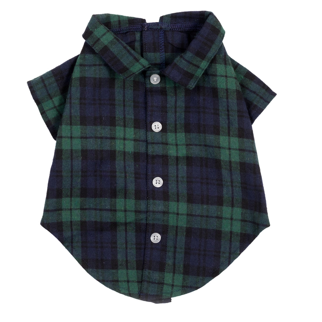 Flannel Woven Pet Clothing Black Watch Plaid Dog Shirt