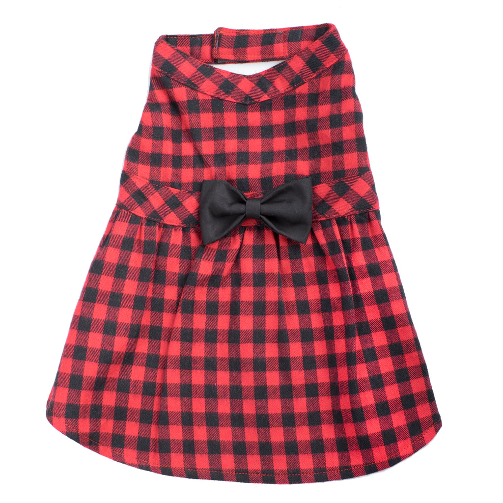 Flannel Woven Designer Pet Clothing - Buffalo Plaid Red Dog Dress