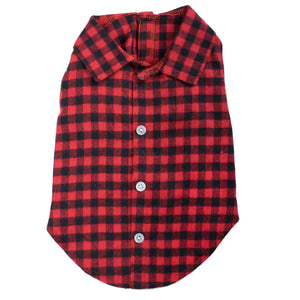 Flannel Woven Pet Dog Clothing - Buffalo Plaid Red Dog Polo Shirt