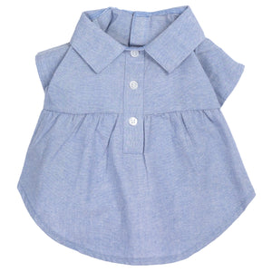 Chambray Woven 100% Cotton Pet Clothing Dog Dress - Chambray Blue Dress