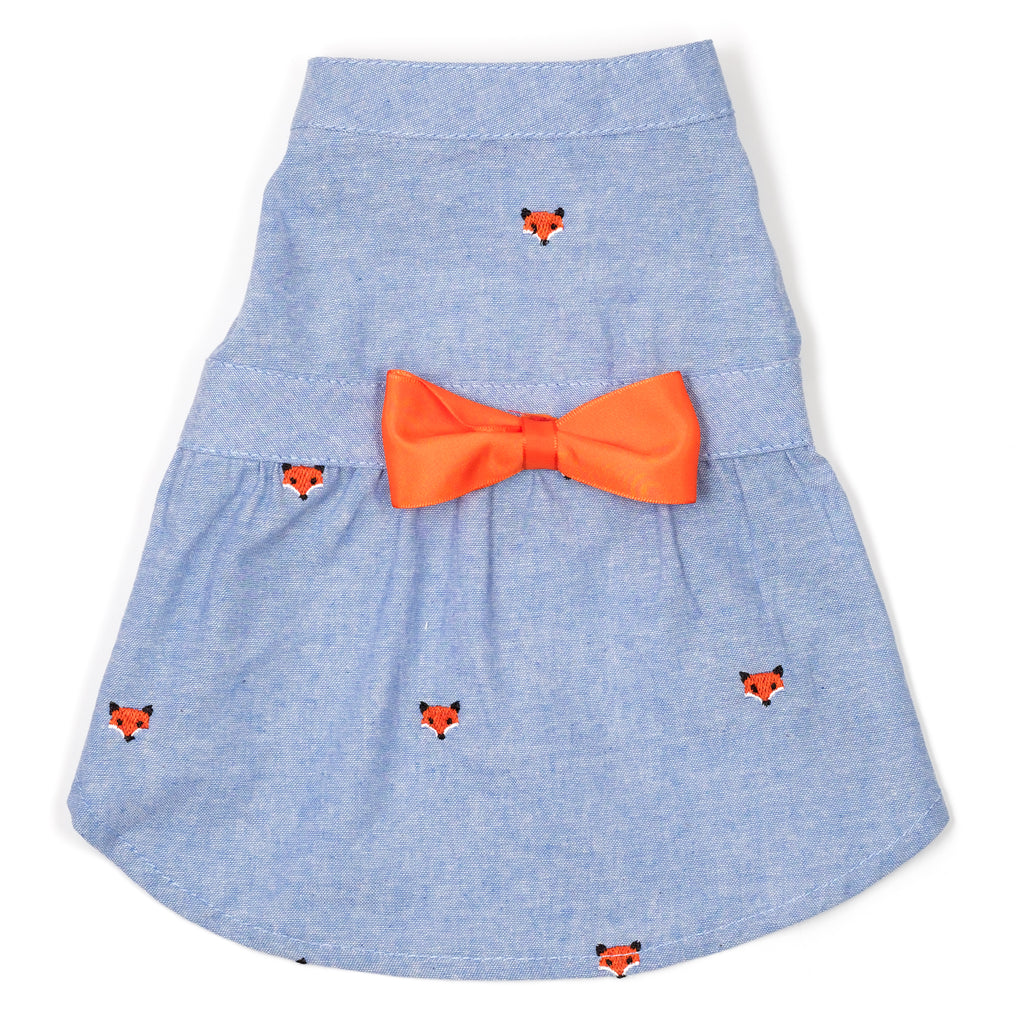 Chambray Woven Designer Pet Clothing - Chambray Foxy Dog Dress