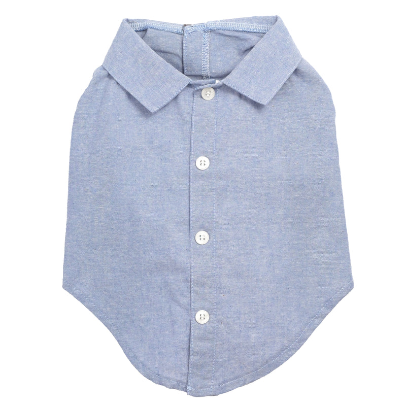 Chambray Woven 100% Cotton Pet Clothing Dog Shirt - Chambray Blue Shirt