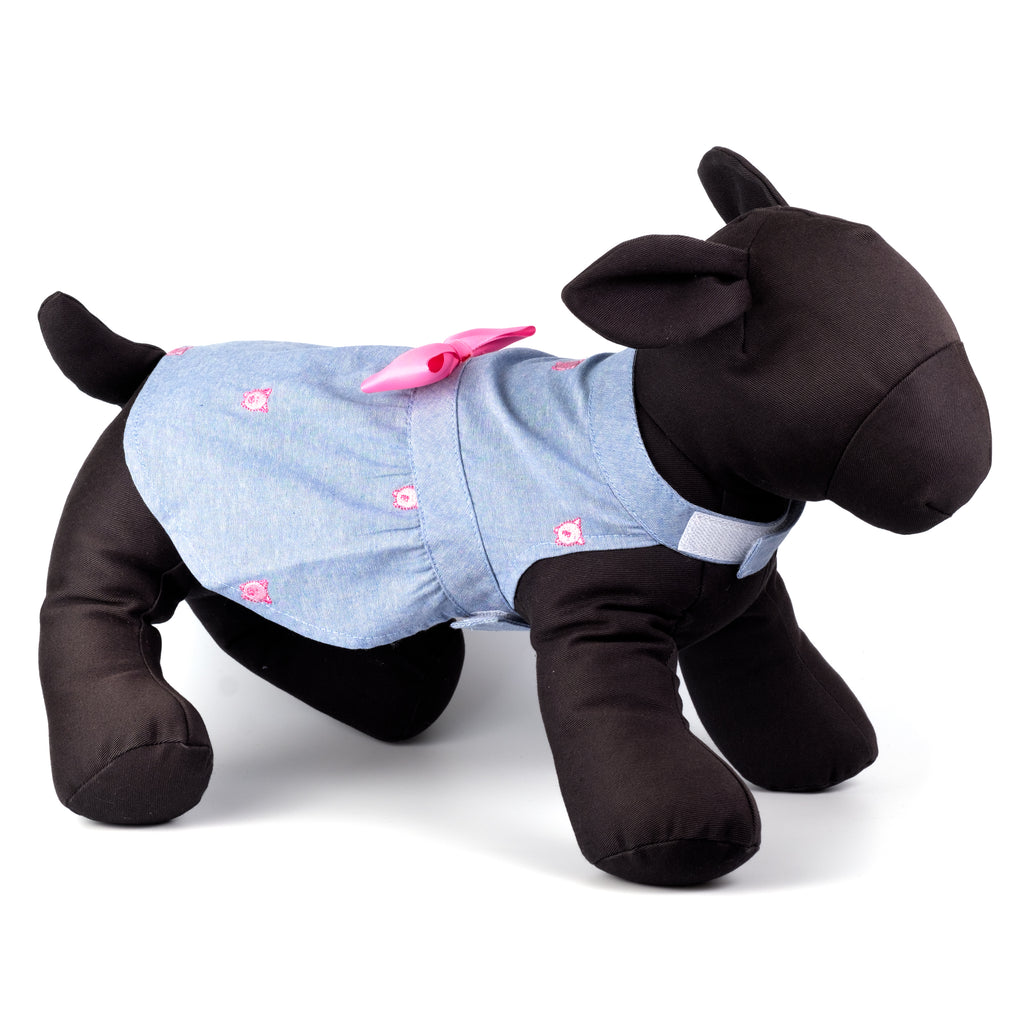 "Chambray Woven Designer Pet Clothing - Chambray ""Wilbur The Pig"" Dog Dress"