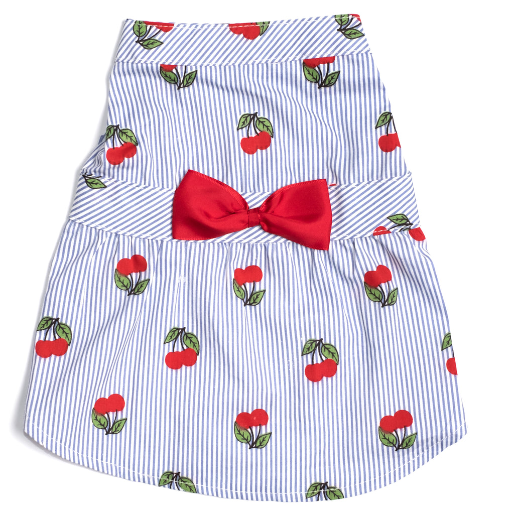 Cotton Print Woven Designer Pet Clothing - Cherries Dog Dress