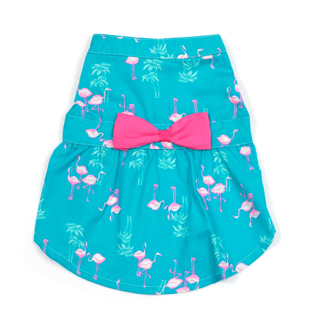 Cotton Print Woven Designer Pet Clothing - Turquoise Flamingo Dog Dress
