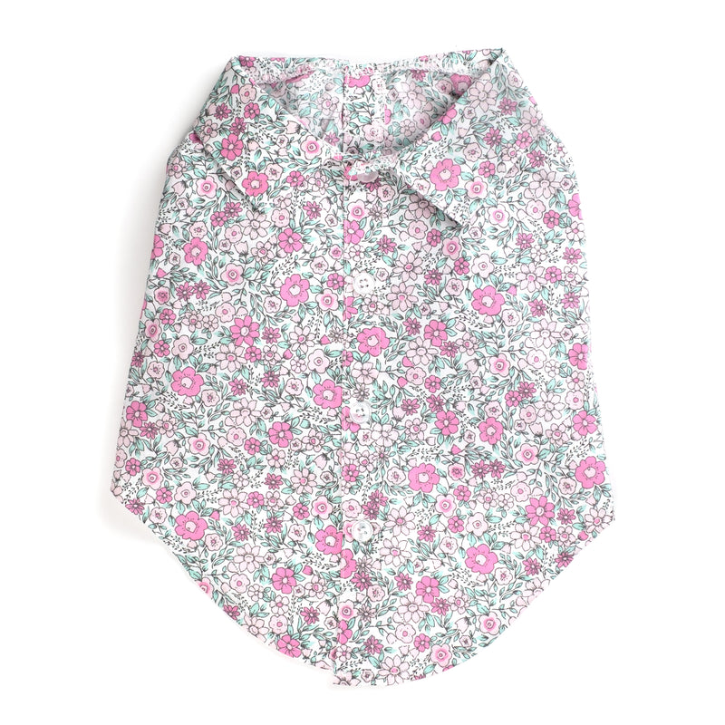 Cotton Print Woven Pet Dog Clothing - Pink Floral Polo Shirt