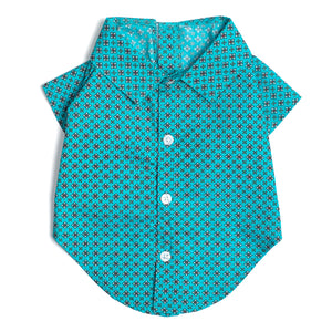 Cotton Print Woven Pet Clothing Designer Dog Shirt - Foulard Turquoise