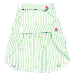 Seersuckers Woven Designer Pet Clothing - Green Stripe Watermelon Dog Dress