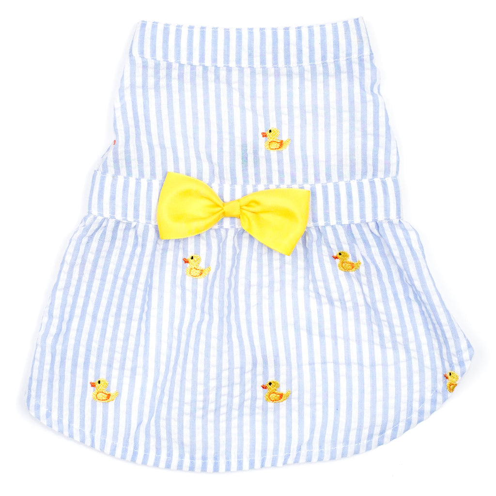 Seersuckers Woven Designer Pet Clothing - Light Blue Stripe Rubber Duck Dog Dress
