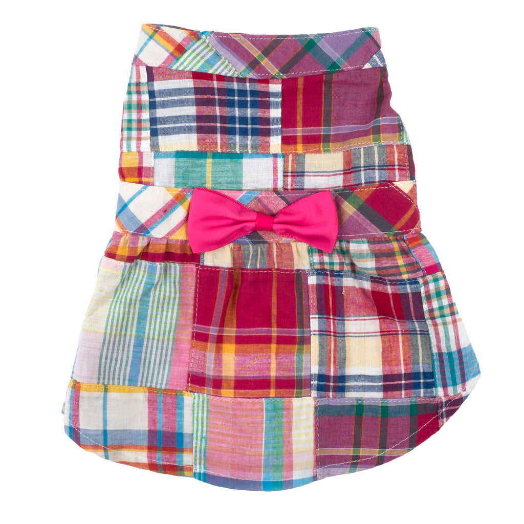 Patchwork Madras Woven Designer Pet Clothing - Bright Madras Dog Dress