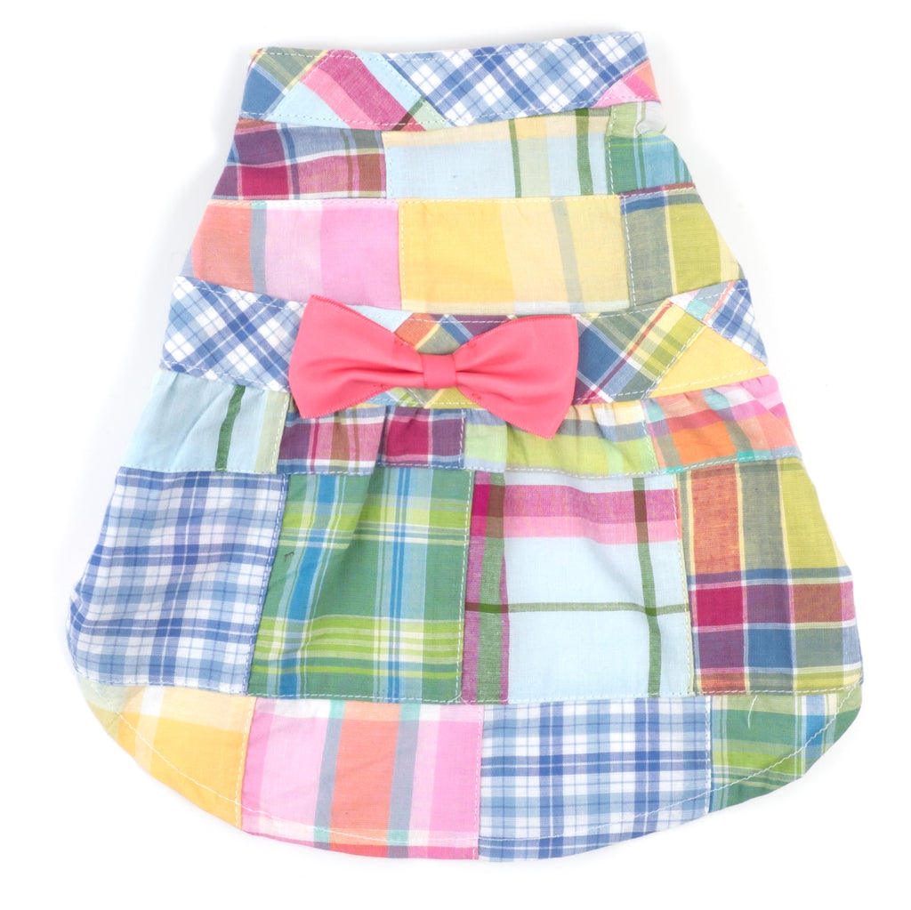 Patchwork Madras Woven Designer Pet Clothing - Pastel Madras Dog Dress