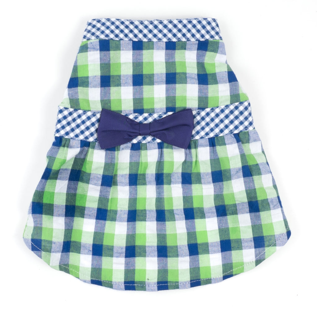 Flannel Woven Designer Pet Clothing - Navy Bright Green Check Plaid Dog Dress