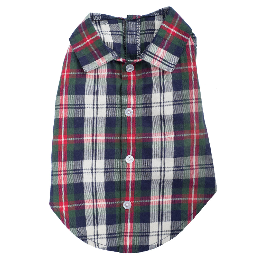 Flannel Woven Pet Dog Clothing - Navy Green Red Plaid Dog Polo Shirt