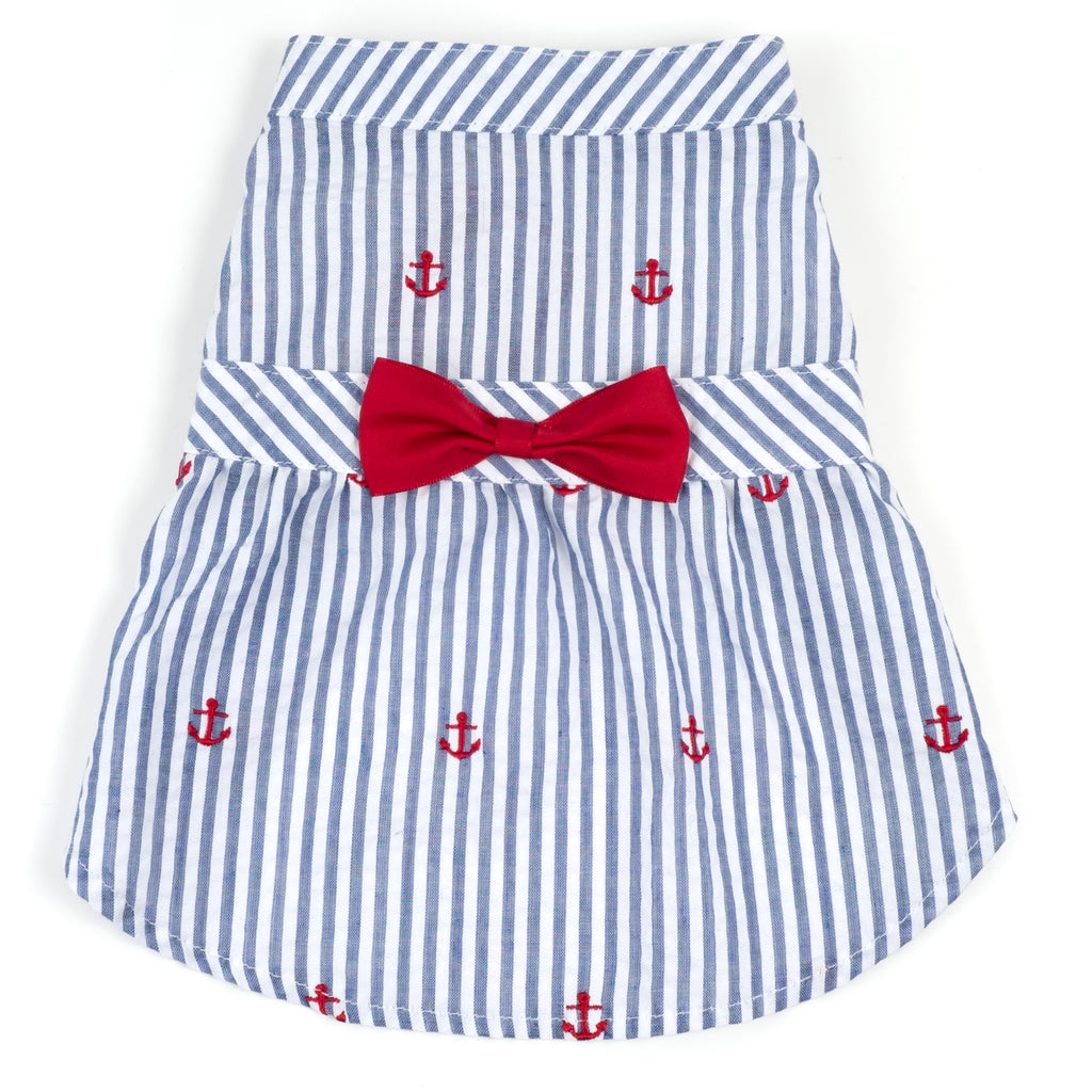 Seersuckers Woven Designer Pet Clothing - Navy Stripe Anchor Dog Dress