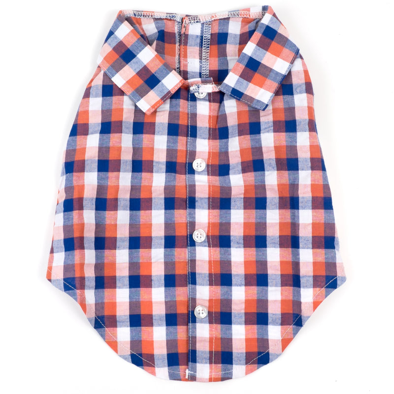 Flannel Woven Pet Dog Clothing - Orange Check Plaid Flannel Dog Polo Shirt