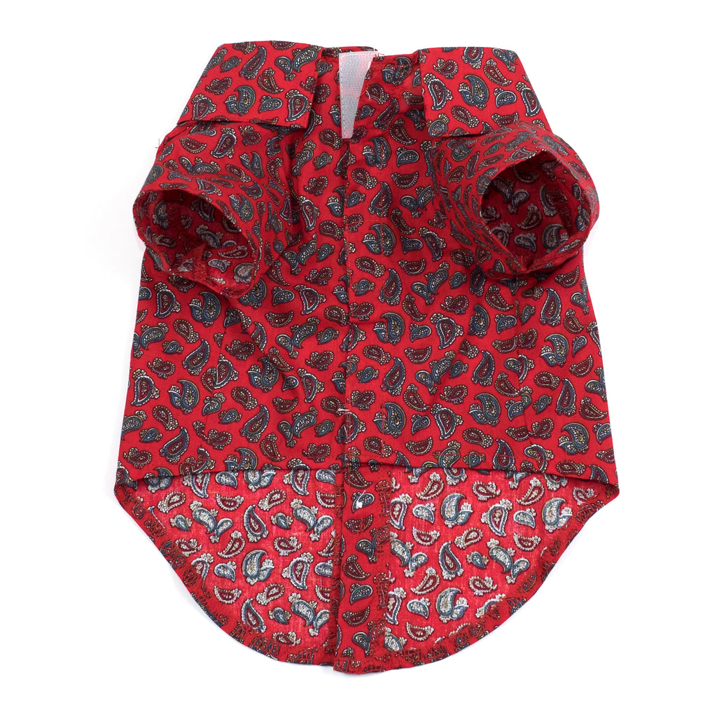 Cotton Print Woven Pet Dog Clothing - Paisley Red Dog Polo Shirt