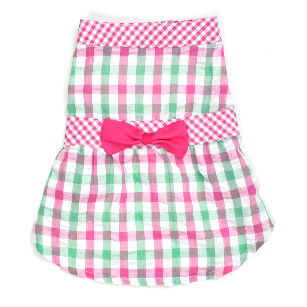 Plaid Woven Designer Pet Clothing - Pink Check Plaid Dog Dress