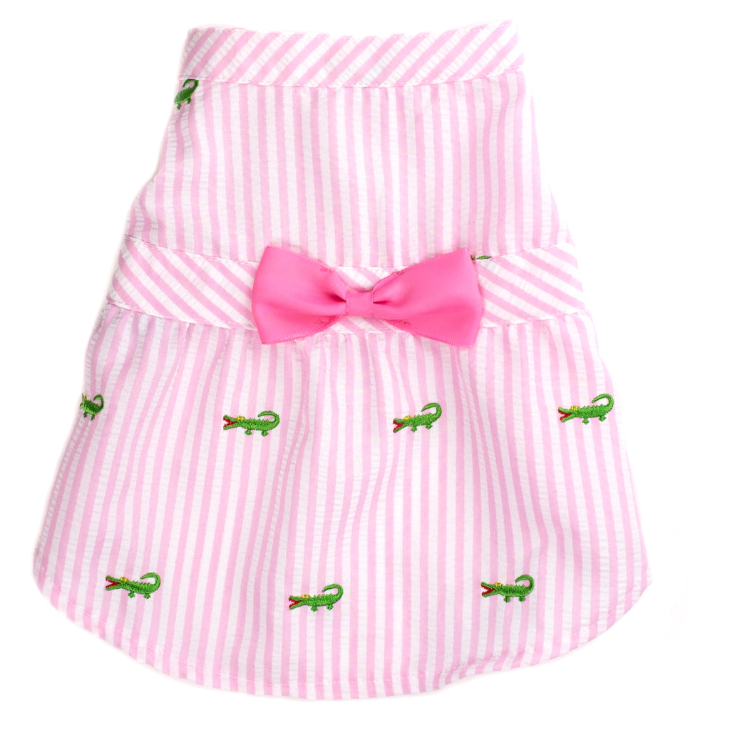 Seersuckers Woven Designer Pet Clothing - Pink Stripe Alligator Dog Dress
