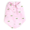 Seersuckers Woven Pet Dog Clothing - Pink Stripe Alligator Dog Polo Shirt