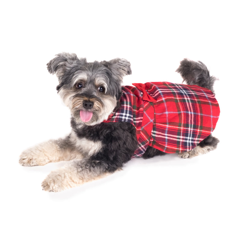 Flannel Woven Pet Clothing - Red Plaid Dog Dress