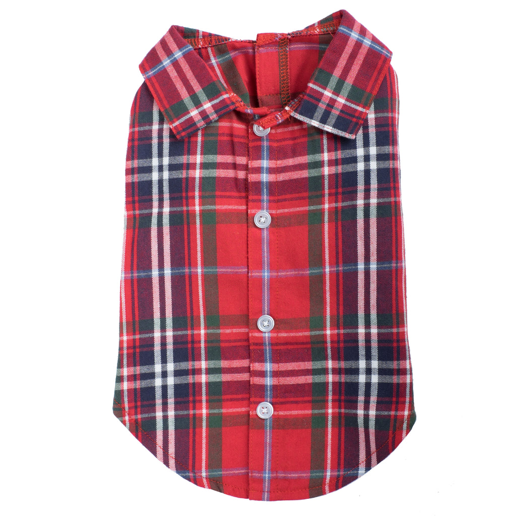 Flannel Woven Pet Dog Clothing - Red Plaid Flannel Dog Polo Shirt