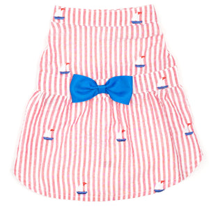 Seersuckers Woven Designer Pet Clothing - Red Stripe Sailboat Dog Dress