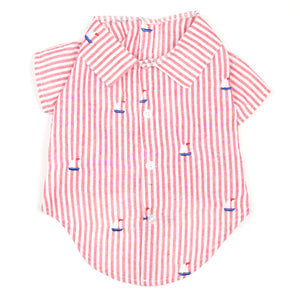 Seersuckers Woven Pet Dog Clothing - Red Stripe Sailboat Polo Dog Shirt