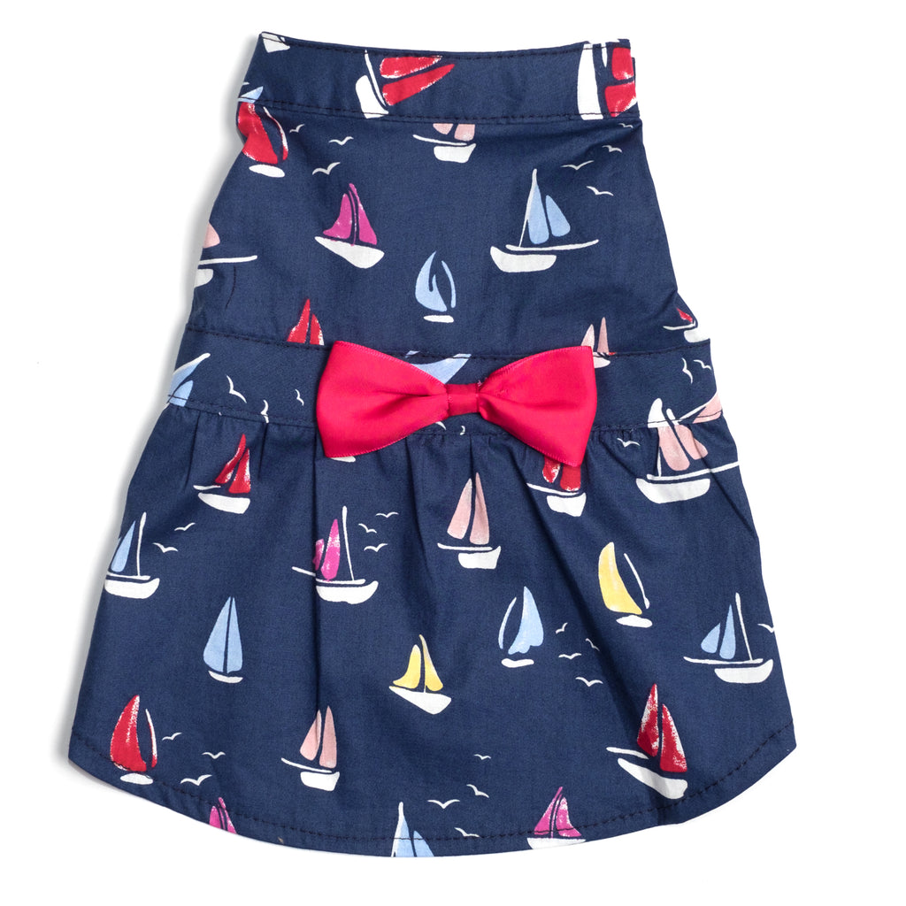 Cotton Print Woven Designer Pet Clothing - Navy Blue Sailboats Dog Dress
