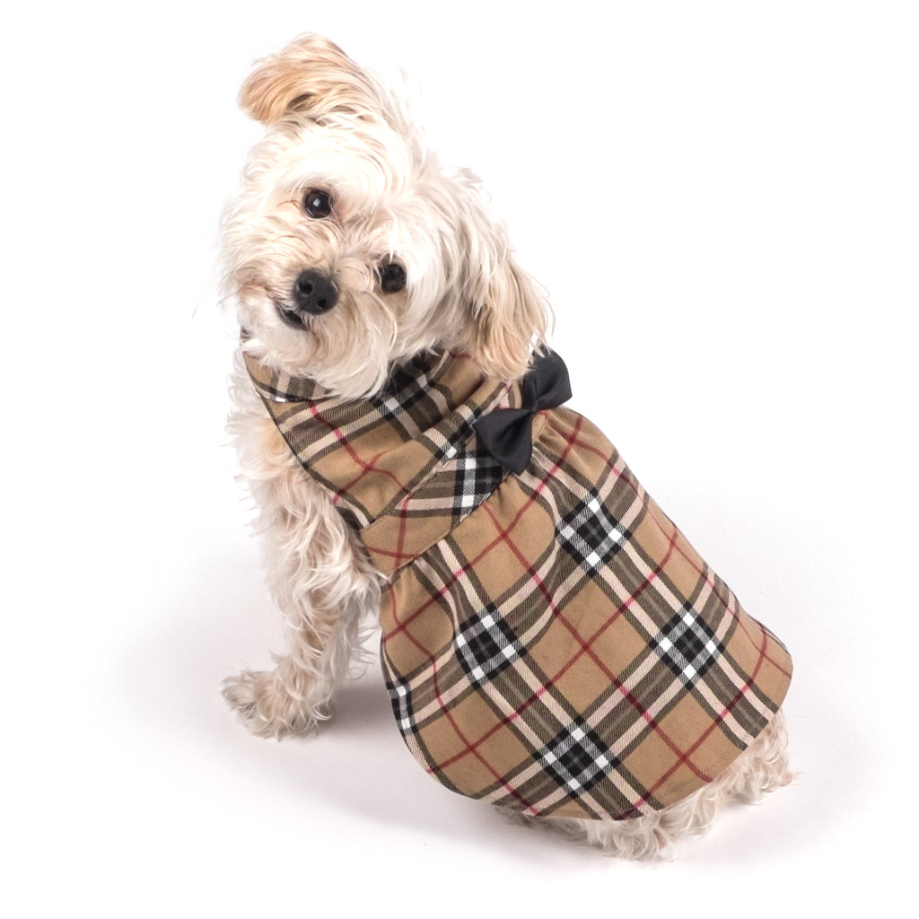 Flannel Woven Pet Clothing - Tan Plaid Dog Dress