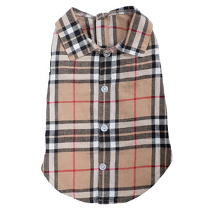 Flannel Woven Pet Dog Clothing - Tan Plaid Polo Shirt