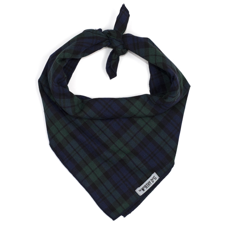 Black Watch Plaid Green & Black Luxury Pet Dog Bandana