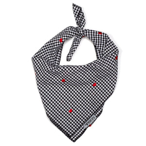 Gingham Hearts Black Plaid Designer Luxury Premium Pet Dog Bandana