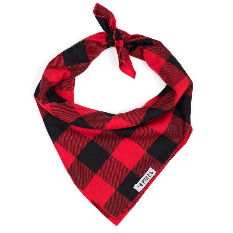 Luxury Designer Pet Dog Bandana - Buffalo Red Plaid