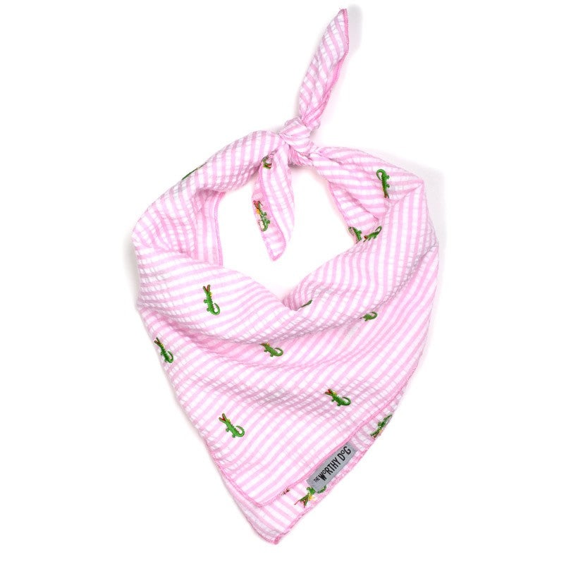 Pink Stripe Alligator Designer Lightweight Embroidered Seersucker Luxury Pet Dog Bandana