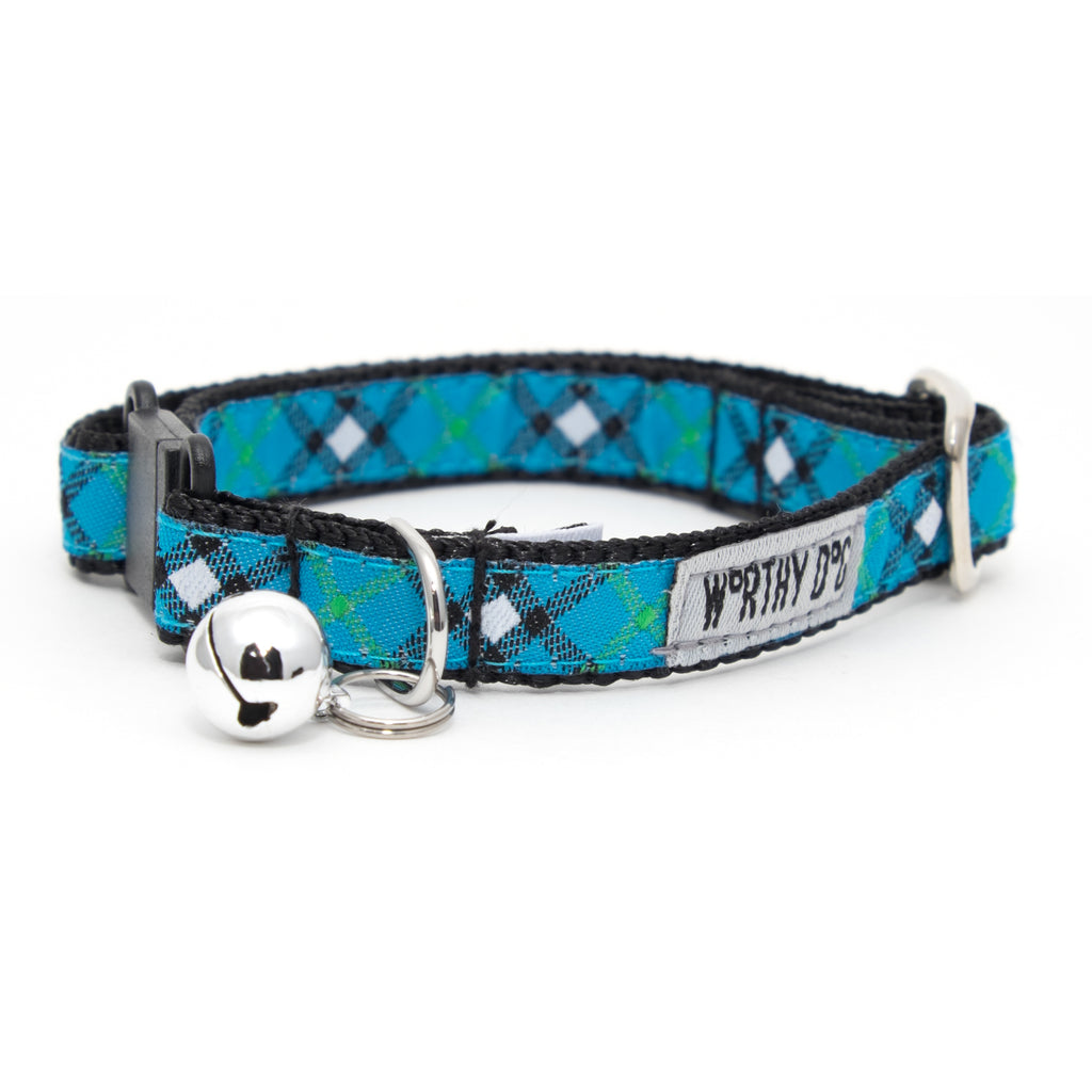 Blue Plaid Woven Ribbon Nylon Durable Pet Cat & Dog Collar