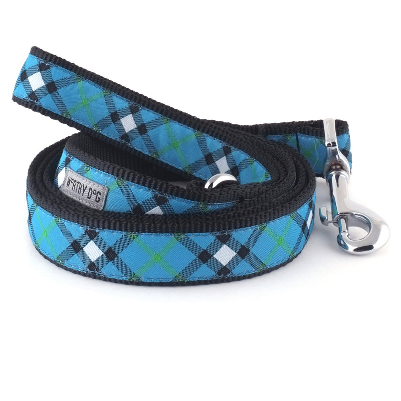 Bias Blue Plaid Woven Ribbon Nylon Durable Premium Pet Cat & Dog Leash