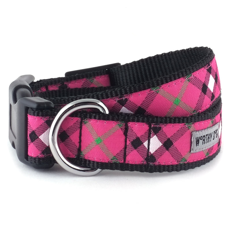 Hot Pink Plaid Woven Ribbon Nylon Durable Premium Pet Cat & Dog Collar