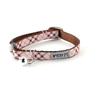 Bias Buffalo Light Pink Plaid Woven Ribbon Nylon Premium Durable Nickel-Plated Pet Cat & Dog Collar