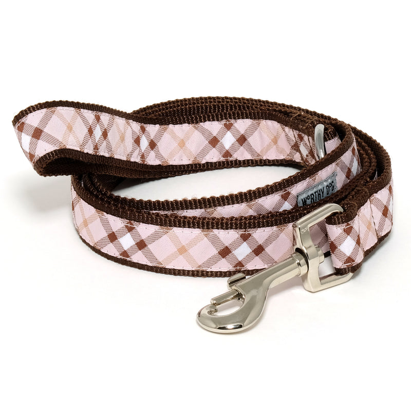 Bias Buffalo Pink Plaid Woven Ribbon Nylon Durable Premium Nickel-Plated Pet Cat & Dog Leash