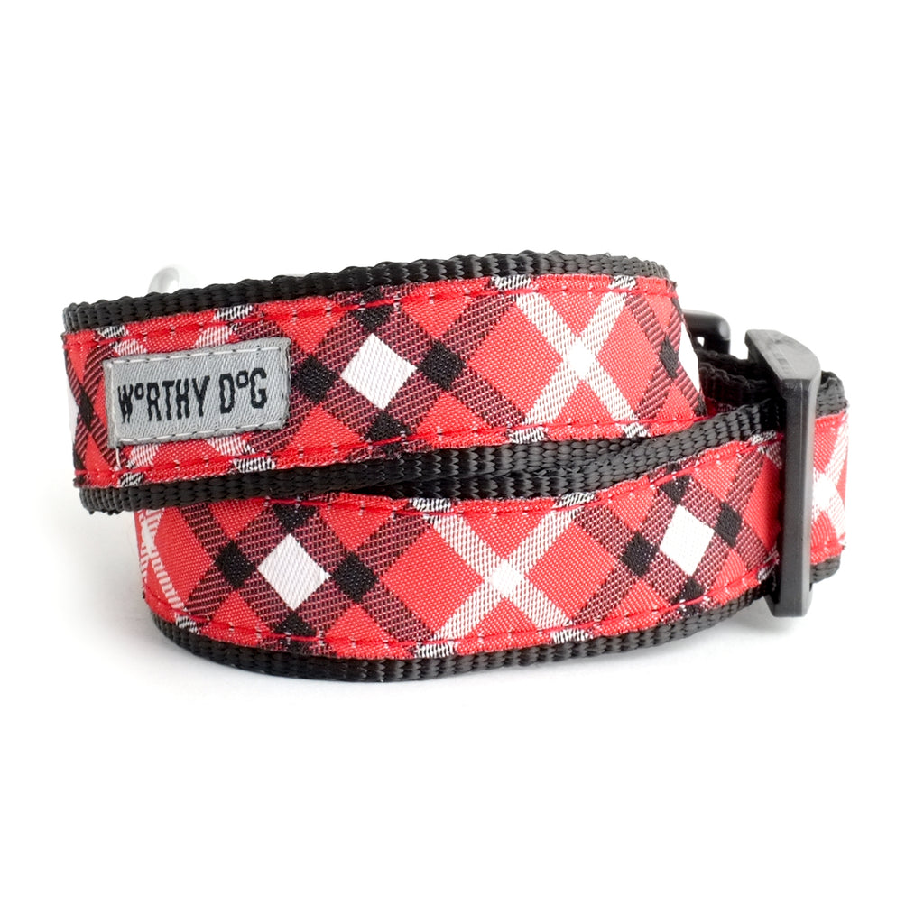 Bias Red Plaid Pet Collar