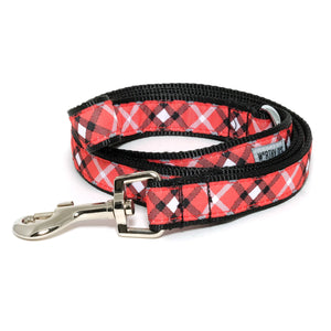 Bias Red Plaid Pet Leash