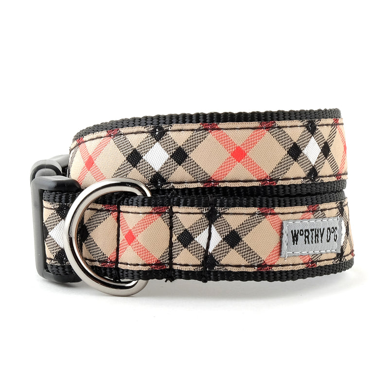 Bias Tan Plaid Woven Ribbon Nylon Pet Cat & Dog Collar