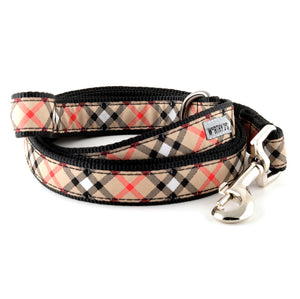 Bias Tan Plaid Woven Ribbon Nylon Pet Cat & Dog Leash