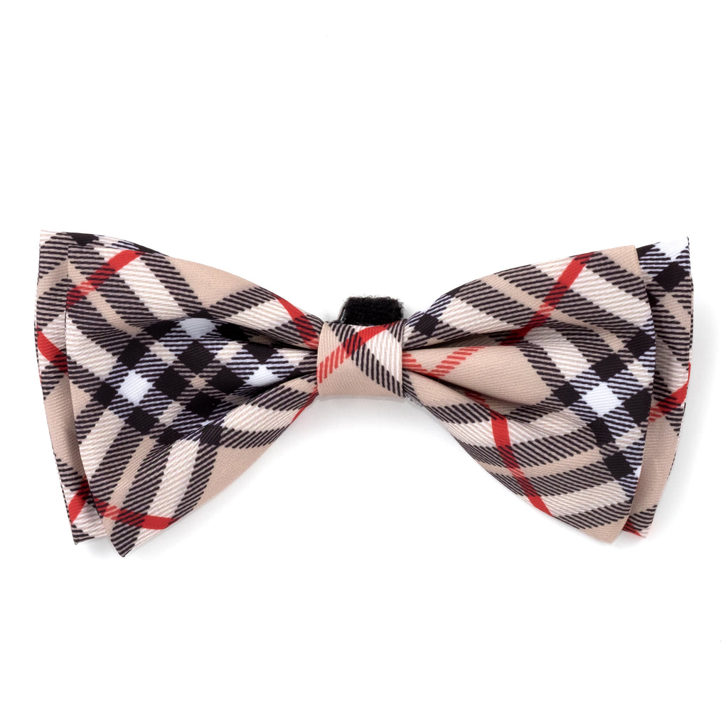 Tan Plaid Stylish Luxury Handmade Attach To Collar Designer Pet Dog Bow Tie Collar Accessory