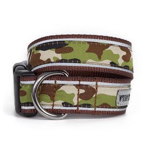 Camouflage Green & Brown Woven Ribbon Nylon Durable Pet Cat & Dog Collar