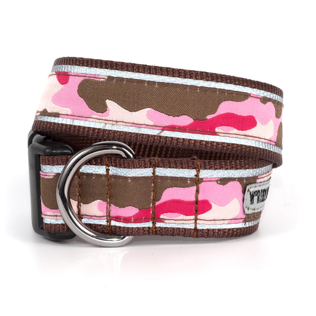 Camouflage Pink Woven Ribbon Nylon Durable Premium Solid Nickel-Plated Pet Cat & Dog Collar
