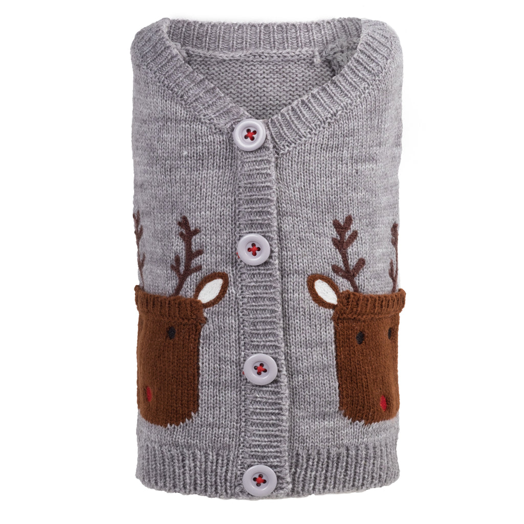 Acrylic & Wool Knit Ultra-Soft Warm Cardigan Designer Pet Dog Sweater - Reindeers